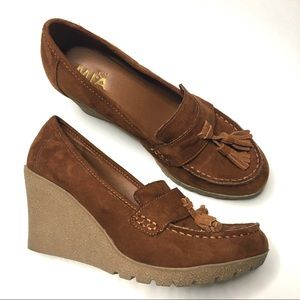 Mia suede wedges 1970s Jackie style loafers